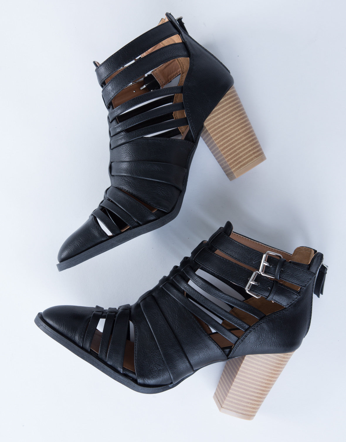 Strappy Buckled Heel Booties
