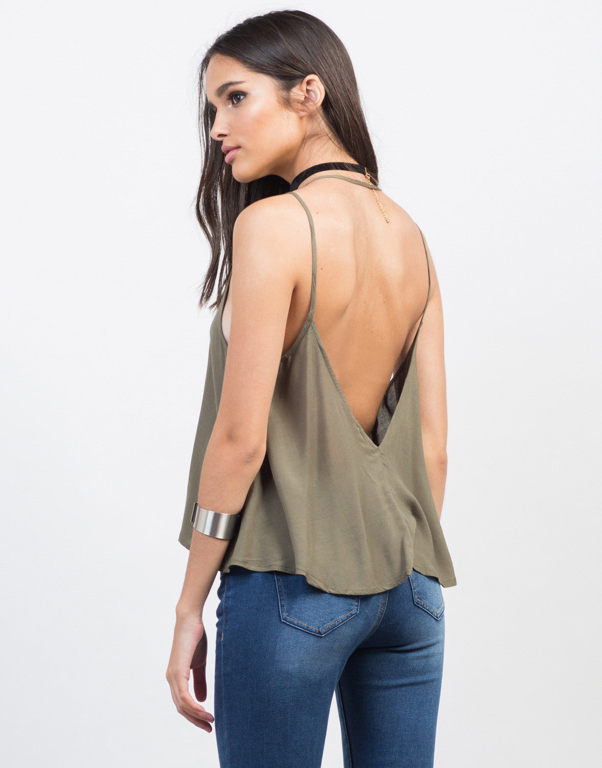 Back View of Strappy Button Up Tank