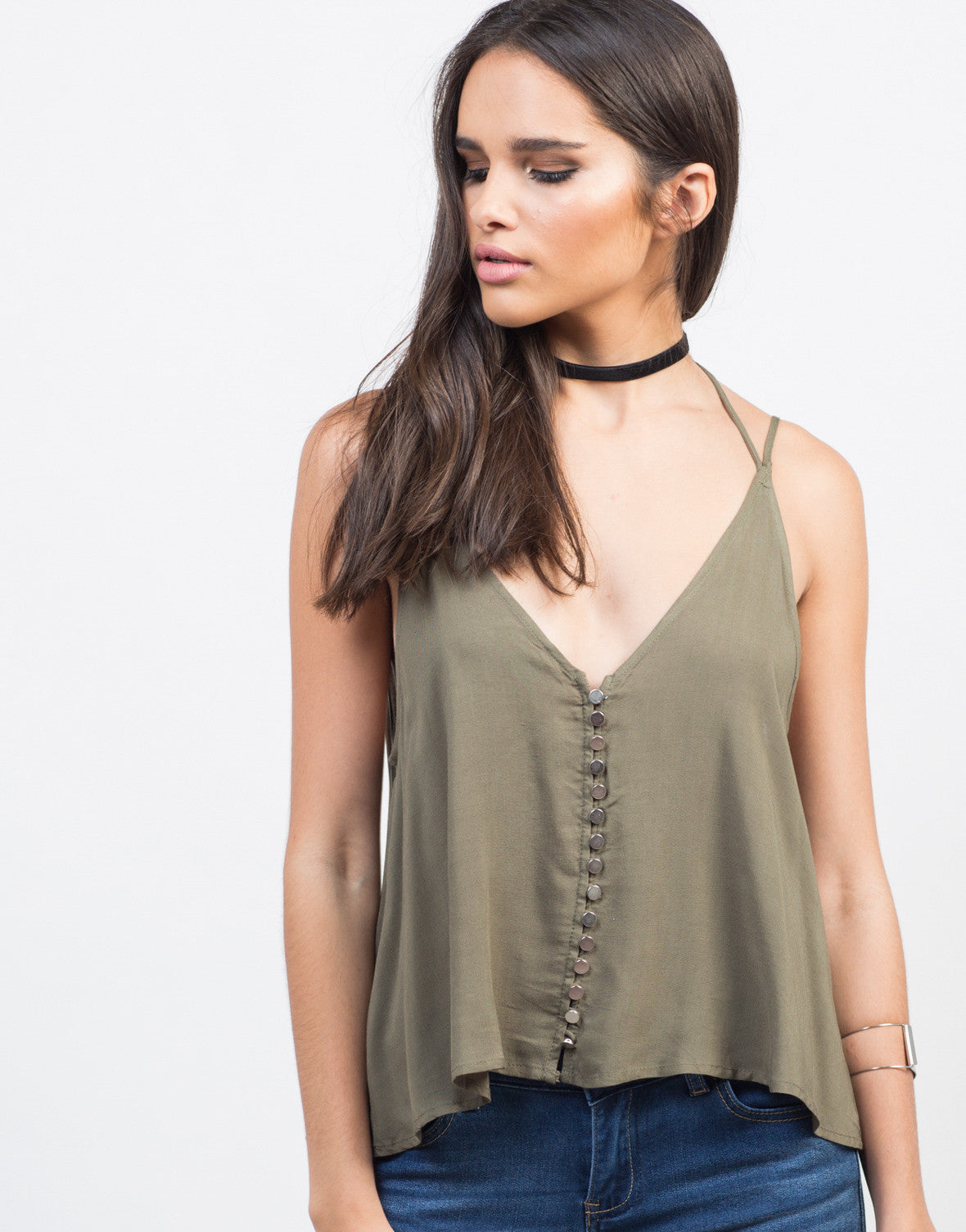 Detail of Strappy Button Up Tank