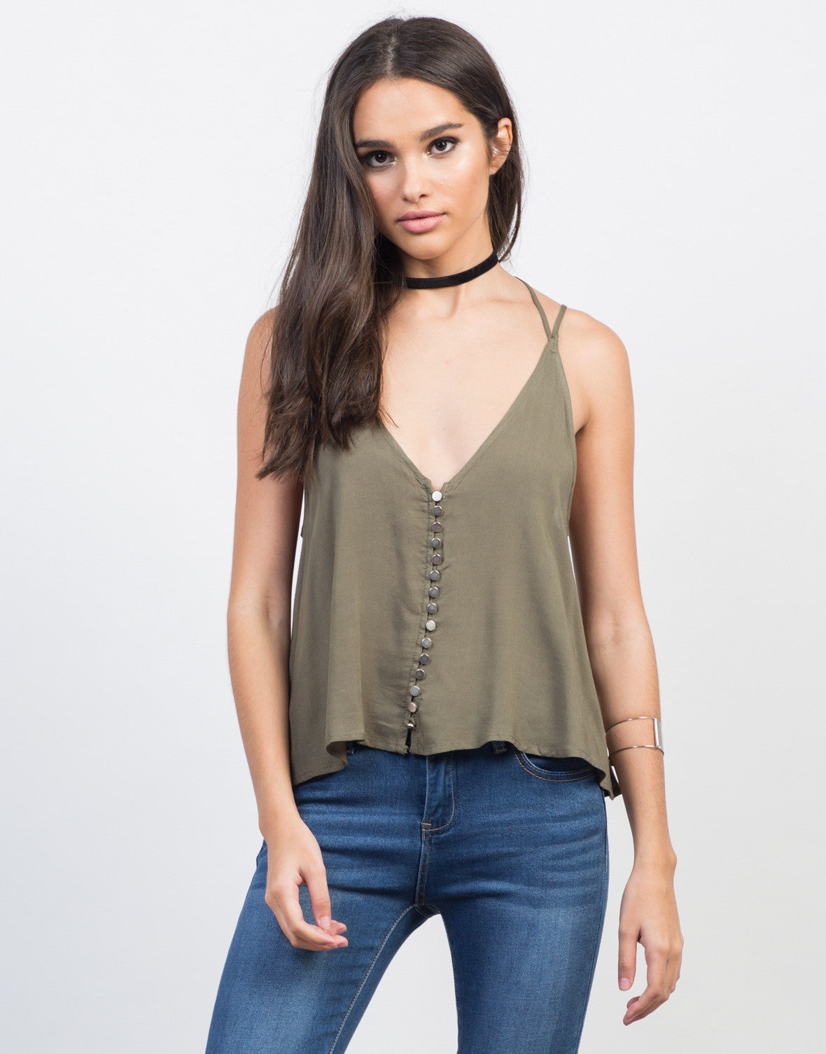 Front View of Strappy Button Up Tank