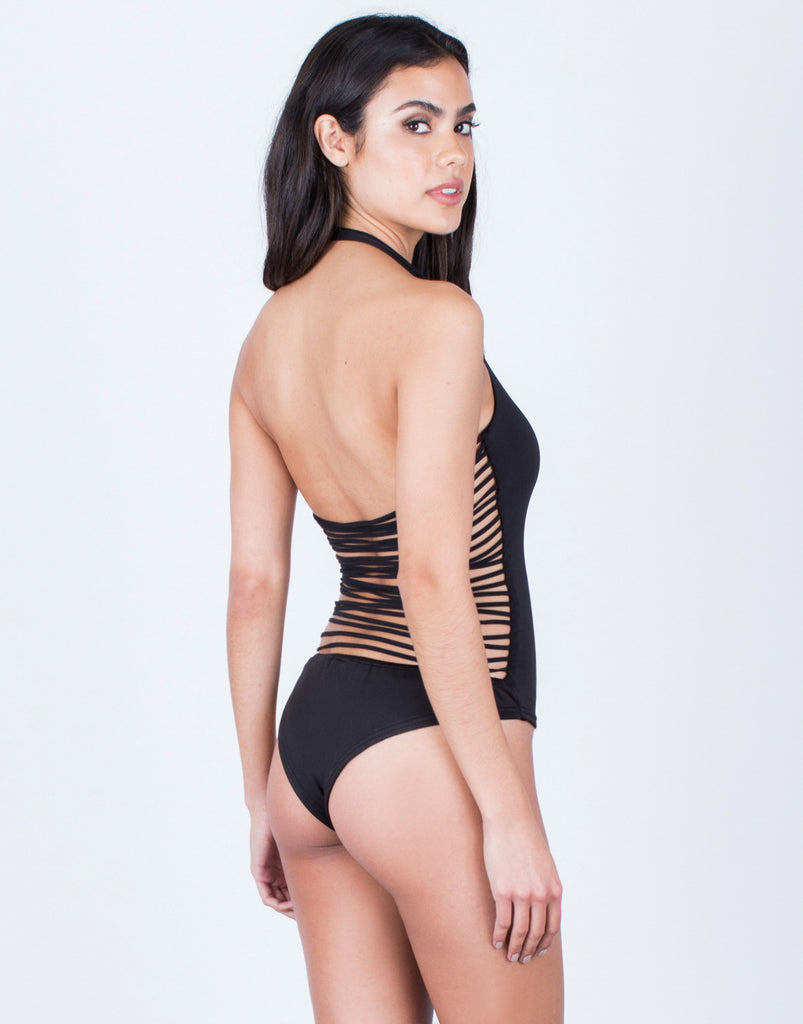 Back View of Strappy Caged Back Bodysuit