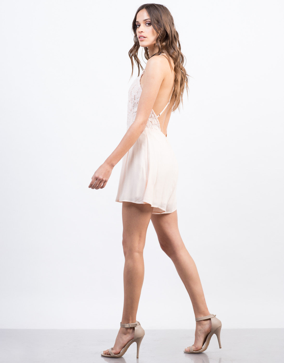 Side View of Strappy Crochet Romper