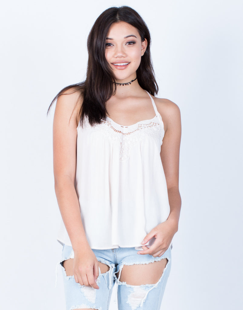 Front View of Strappy Crochet Trim Cami