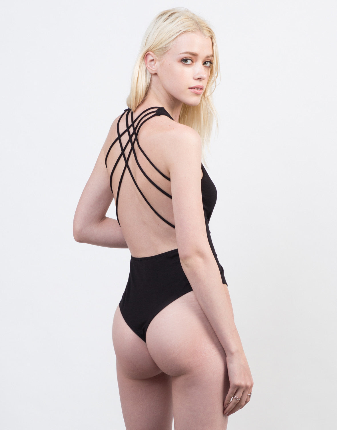 Back View of Strappy Cross Back Bodysuit