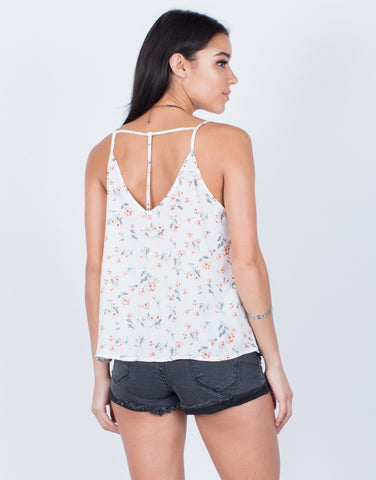 Back View of Strappy Floral Cami