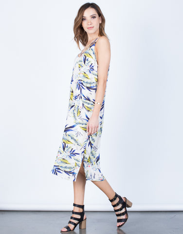 Side View of Strappy Floral Vacay Dress
