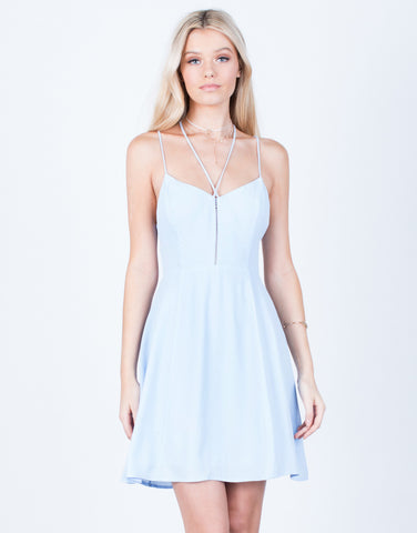 Front View of Strappy Front Flowy Dress