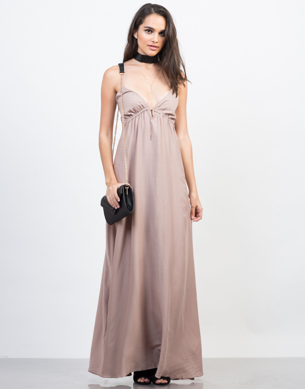 Front View of Strappy Goddess Maxi Dress