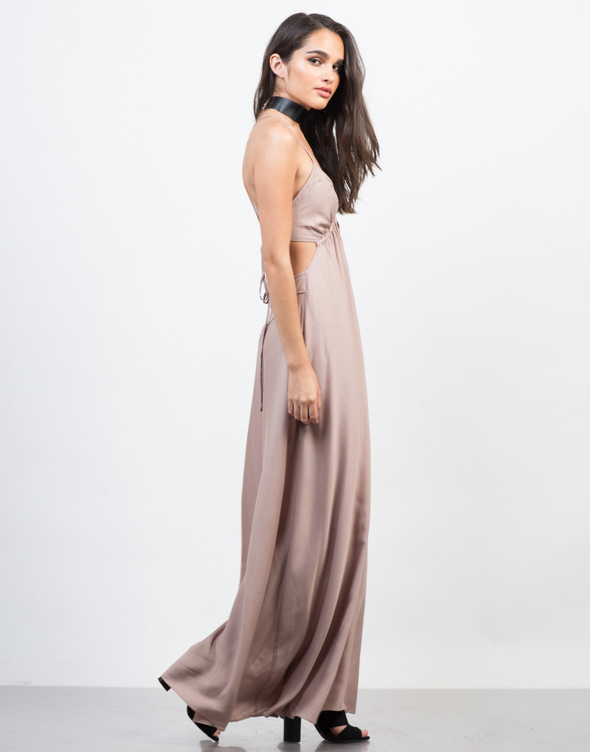 Side View of Strappy Goddess Maxi Dress