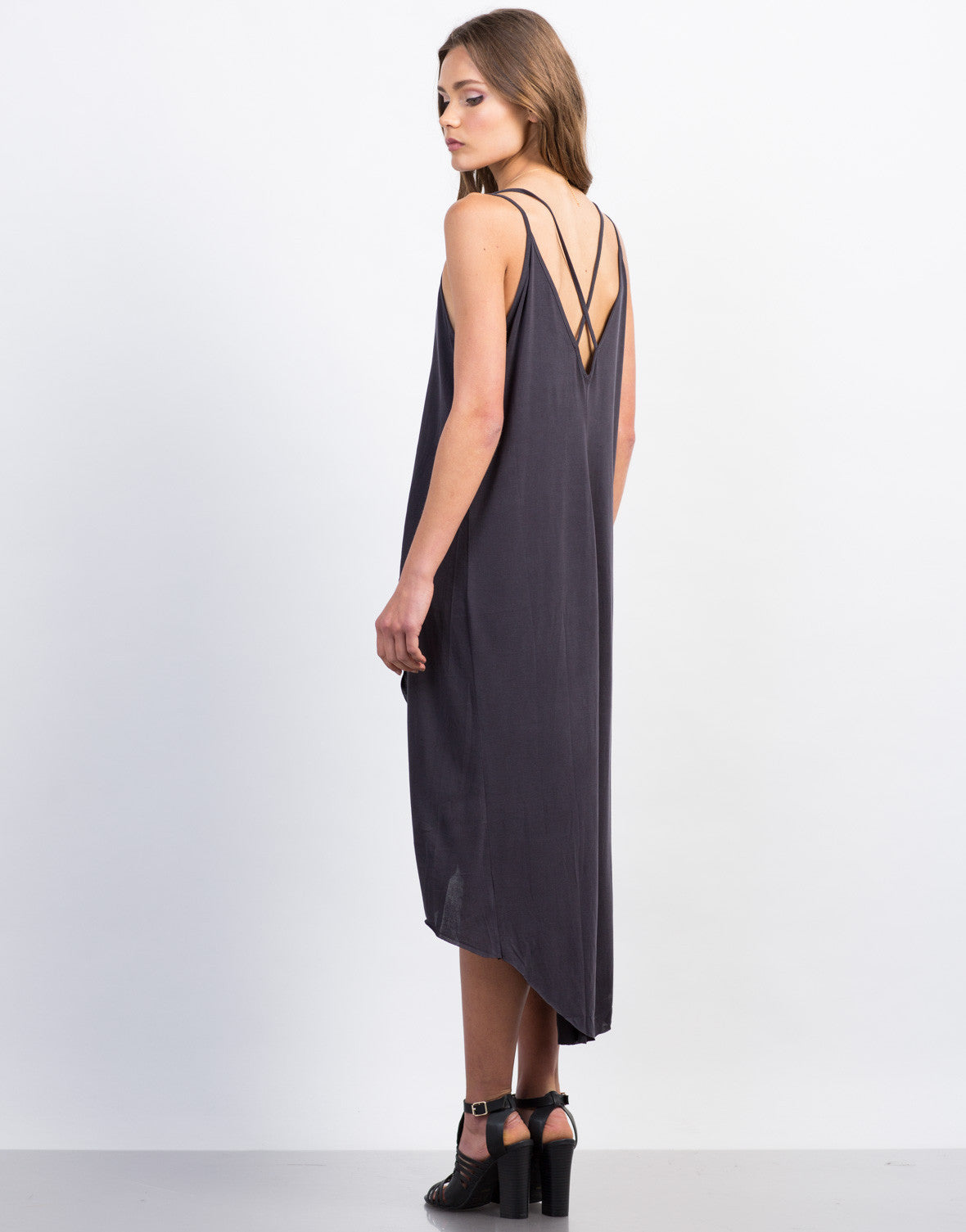 Back View of Strappy Hi-Low Tank Dress