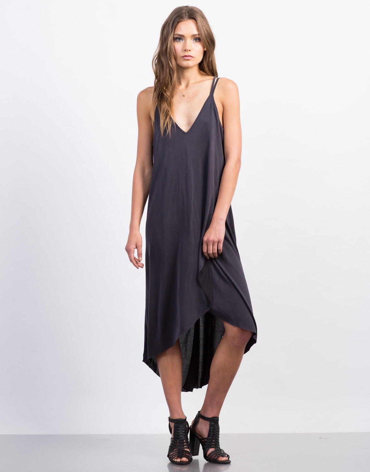 Front View of Strappy Hi-Low Tank Dress