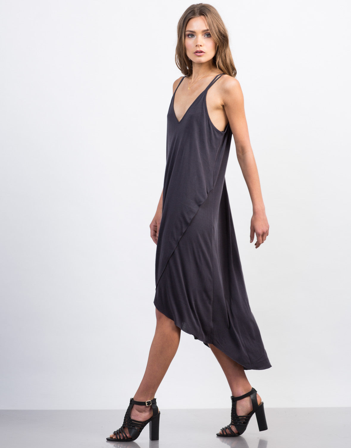 Side View of Strappy Hi-Low Tank Dress