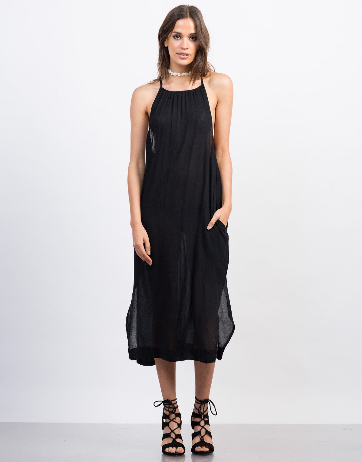 Front View of Strappy High Neck Midi Dress