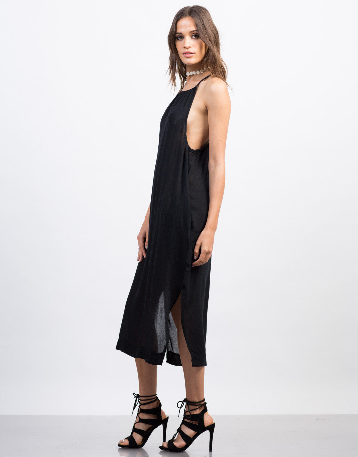 Side View of Strappy High Neck Midi Dress