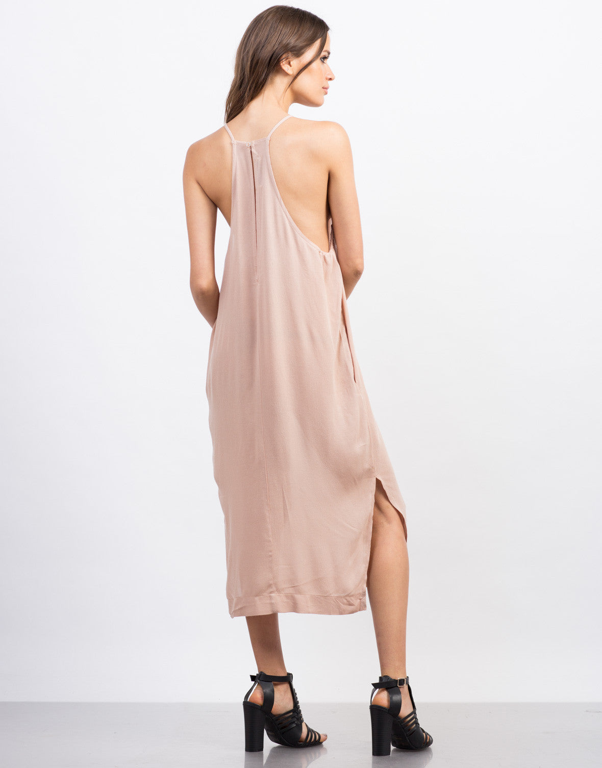 Back View of Strappy High Neck Midi Dress