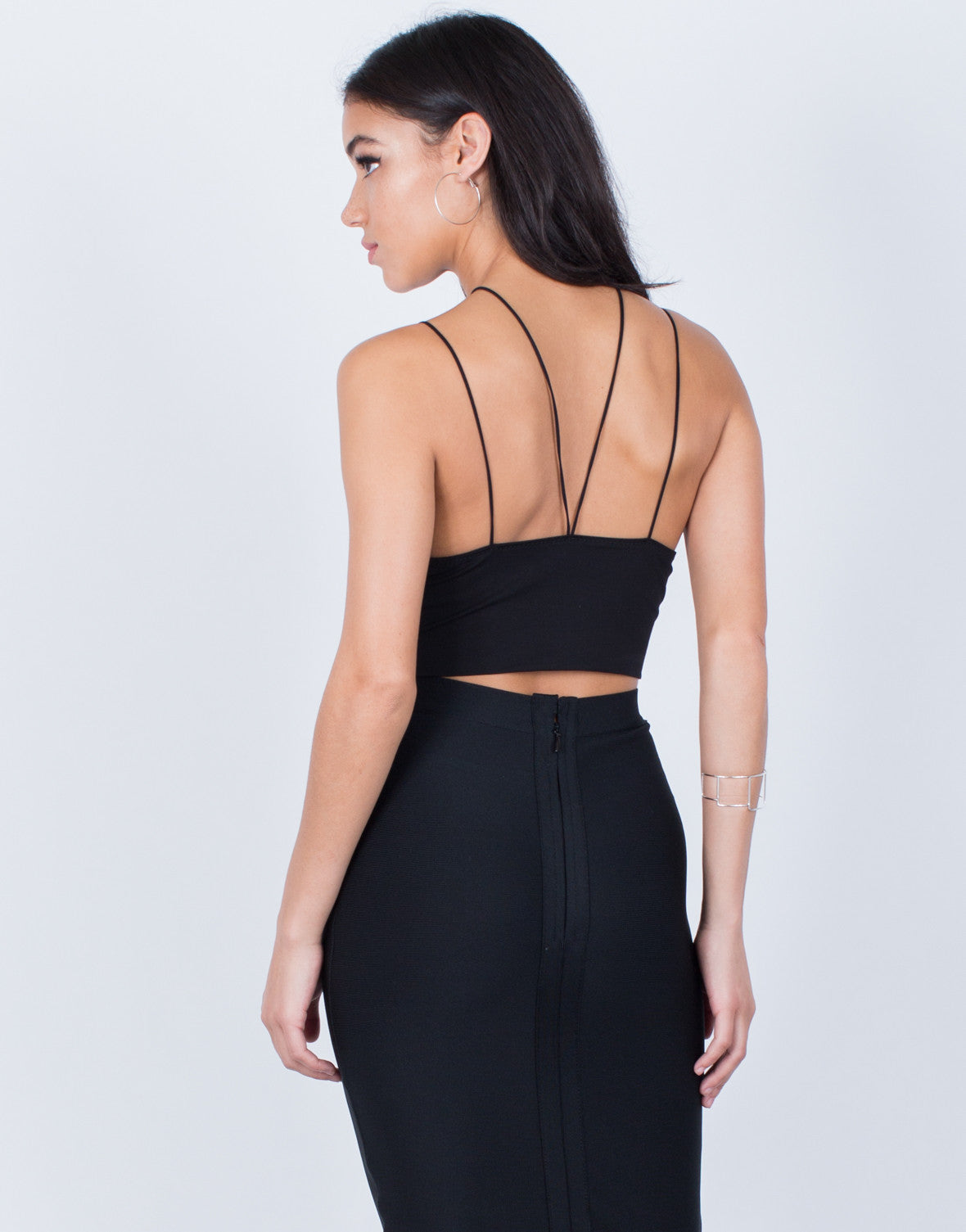 Back View of Strappy Knit Bralette Top