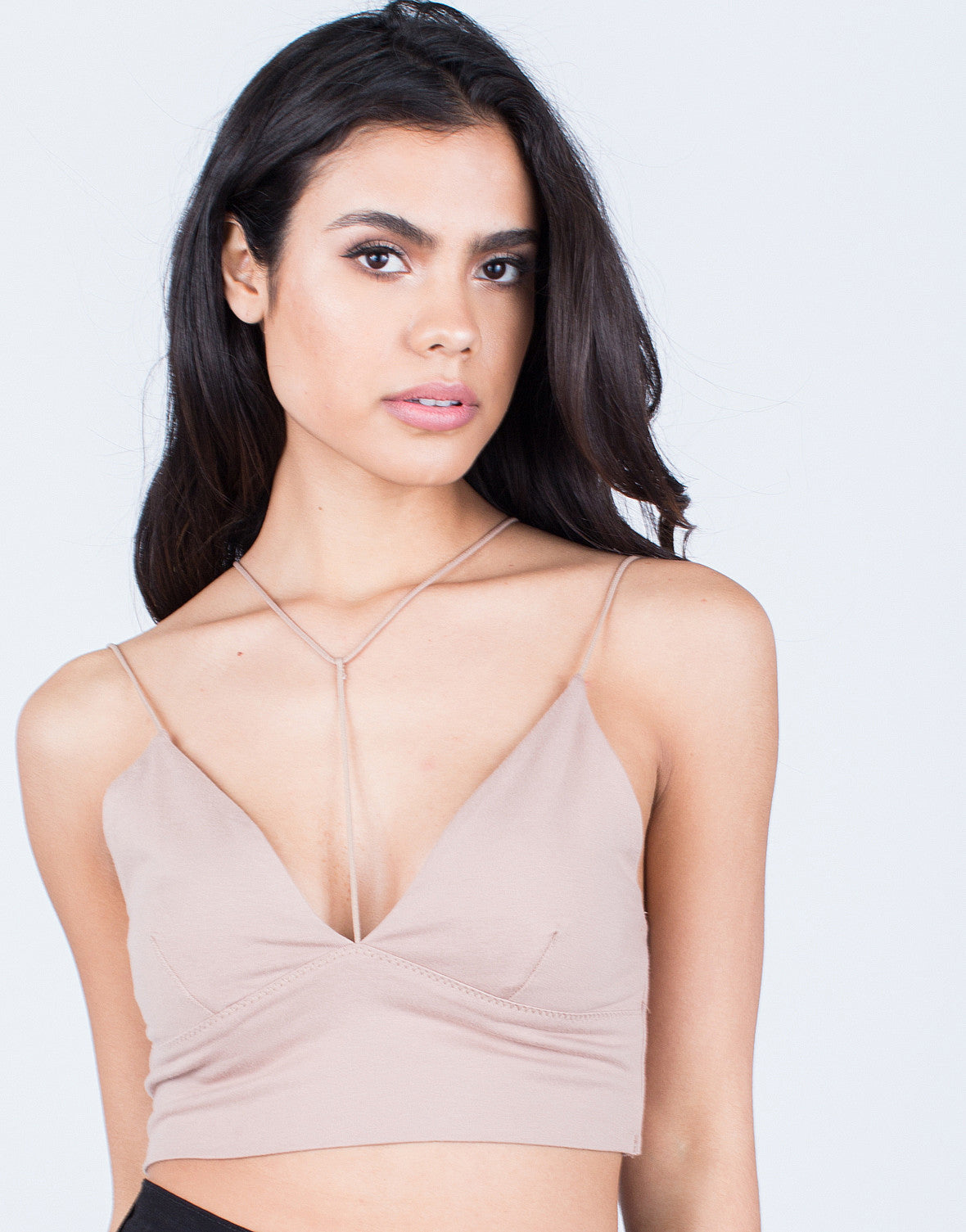 Detail of Strappy Knit Bralette Top