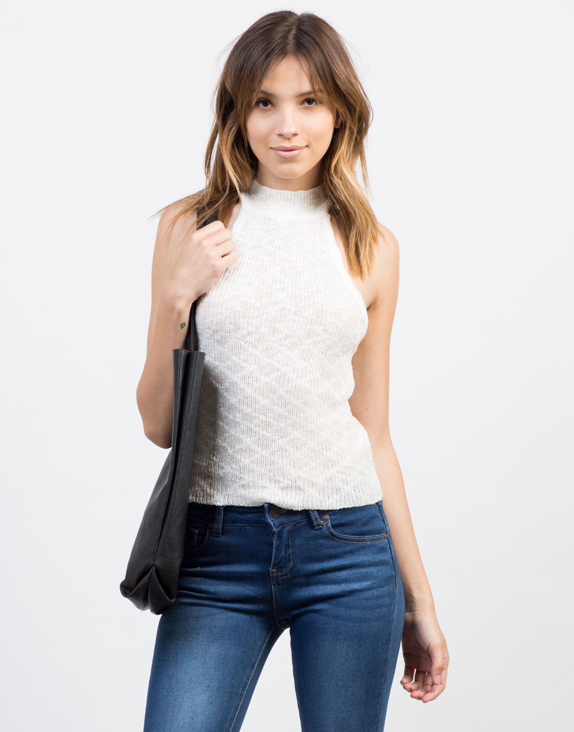 Front View of Strappy Knitted Tank
