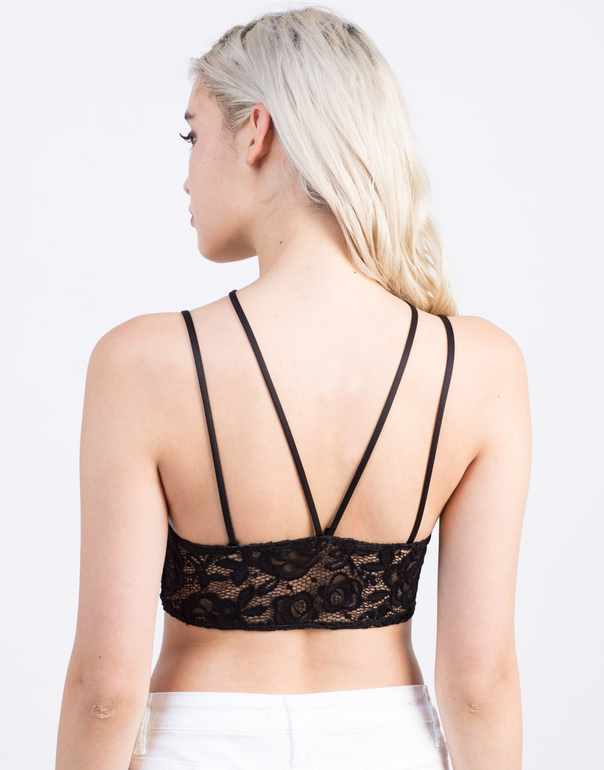 Back View of Strappy Lace Bralette