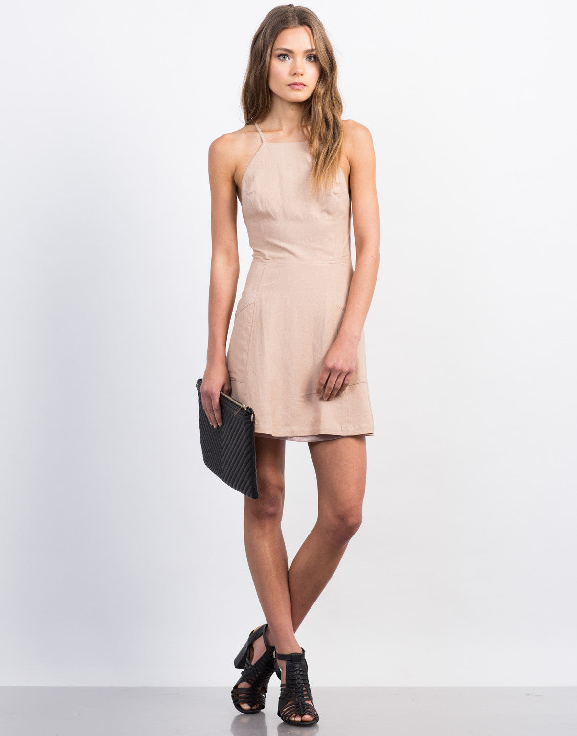 Front View of Strappy Linen Dress