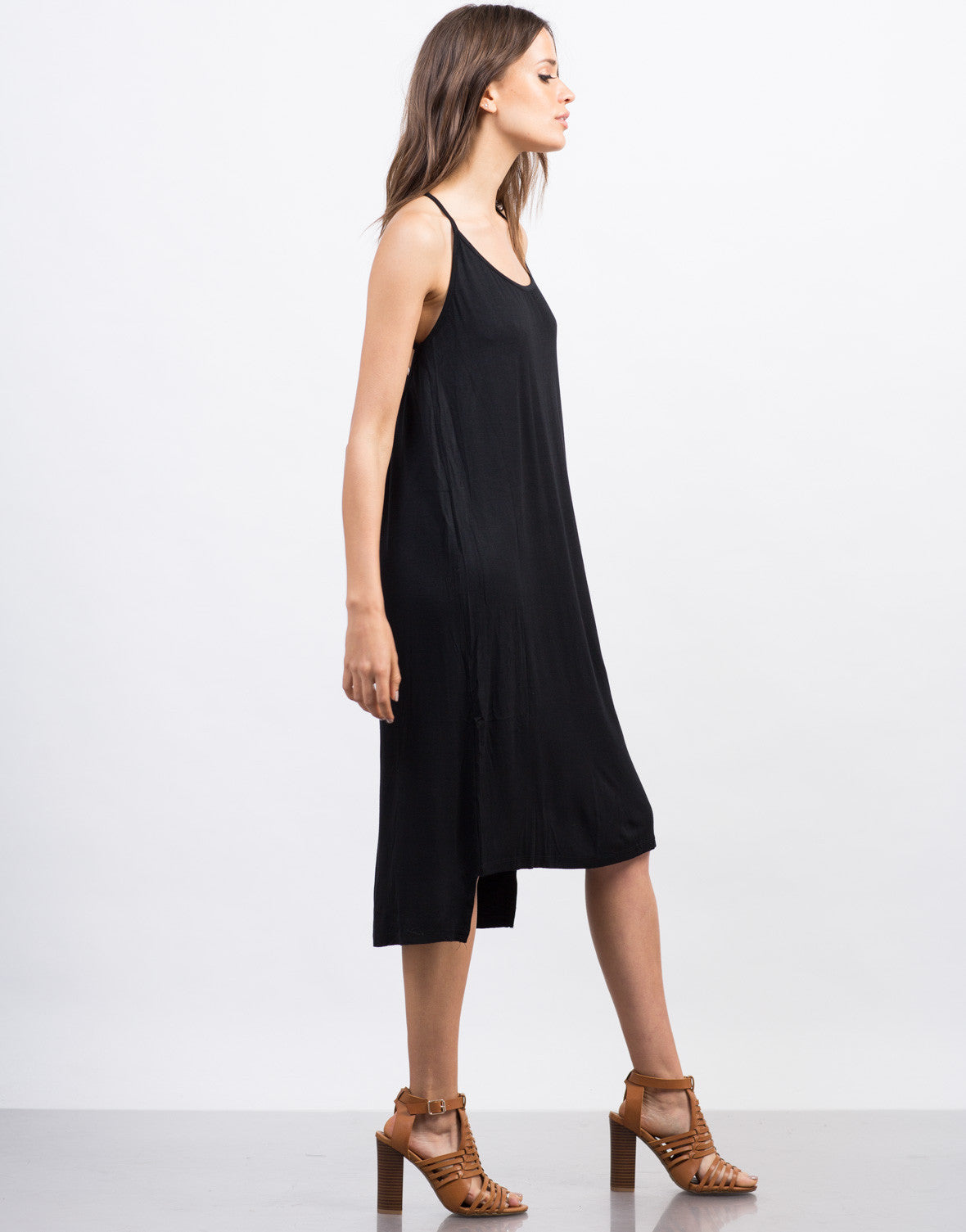 Side View of Strappy Midi Day Dress