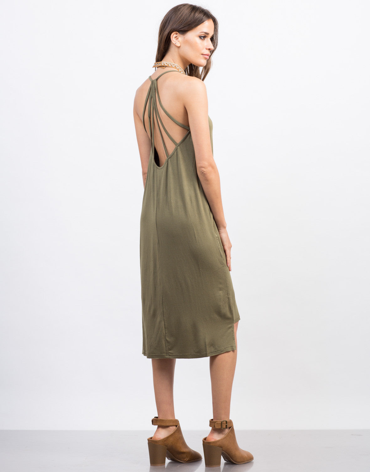 Back View of Strappy Midi Day Dress