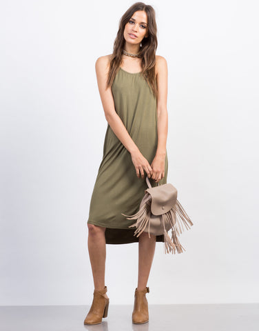 Front View of Strappy Midi Day Dress