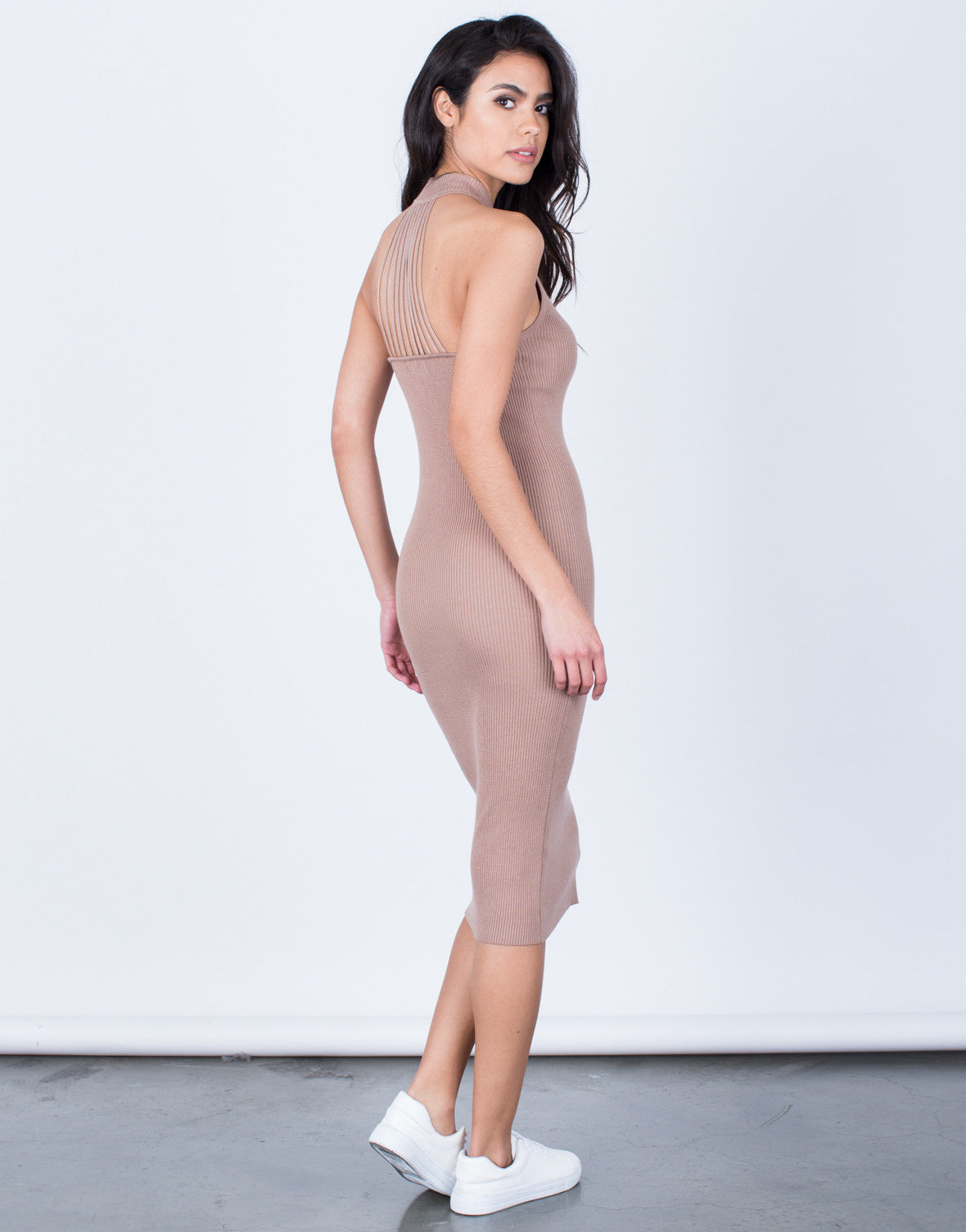 Back View of Strappy Mock Neck Dress