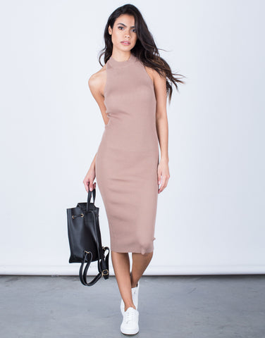 Front View of Strappy Mock Neck Dress