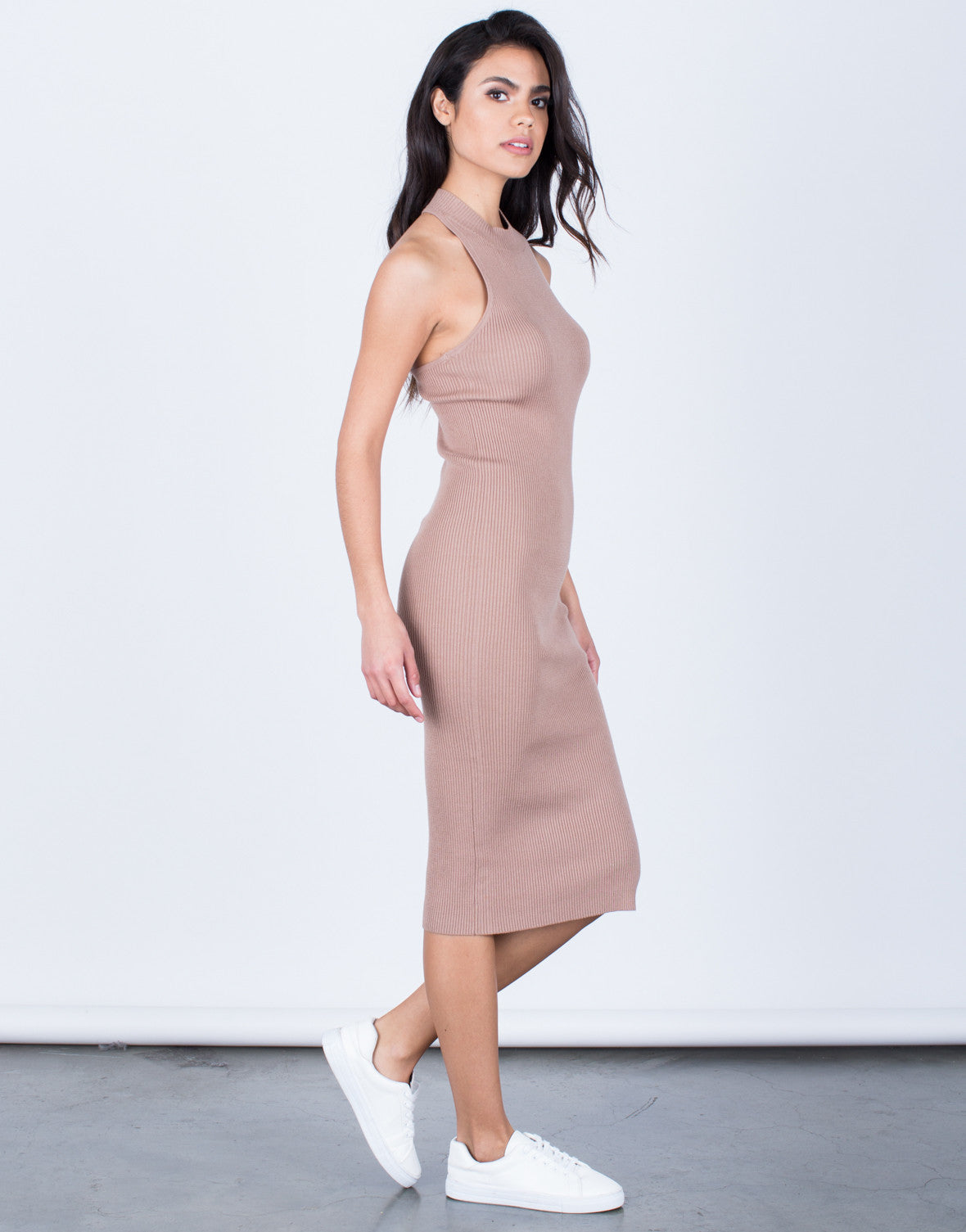 Side View of Strappy Mock Neck Dress