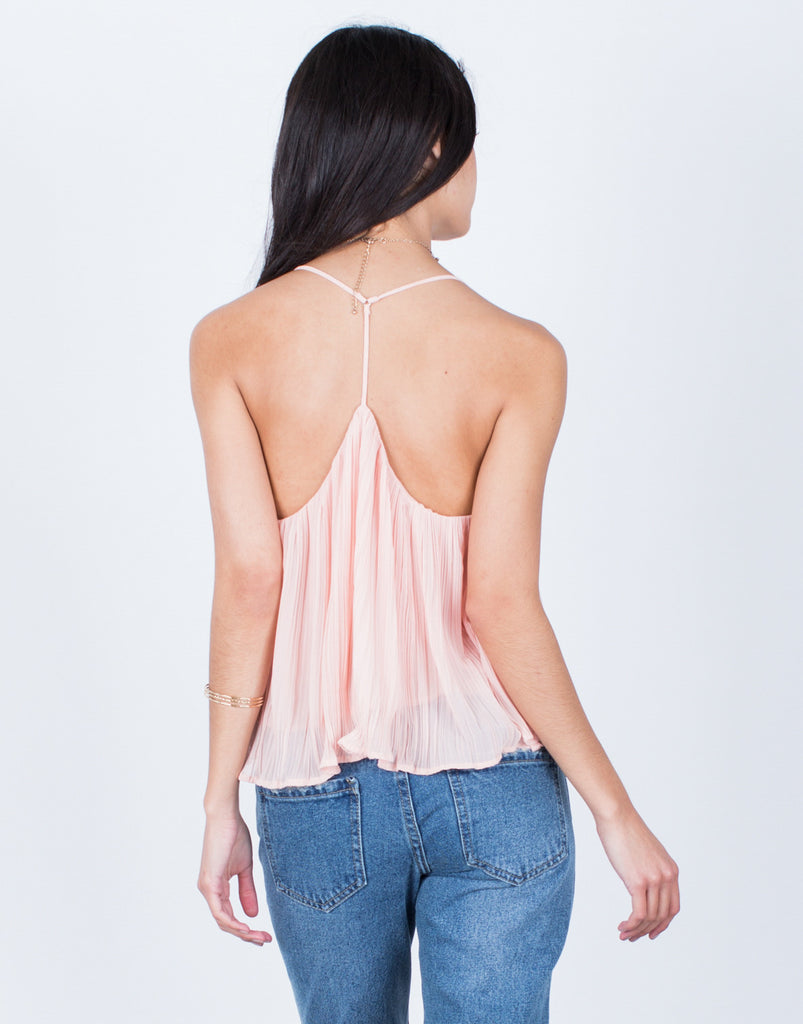 Back View of Strappy Pleated Cami