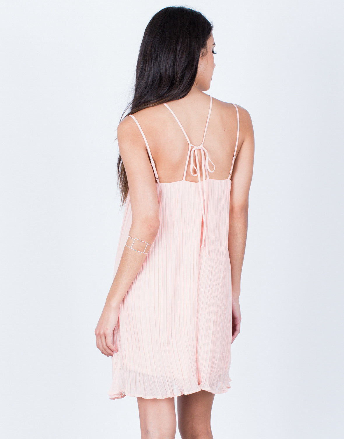 Back View of Strappy Pleated Dress
