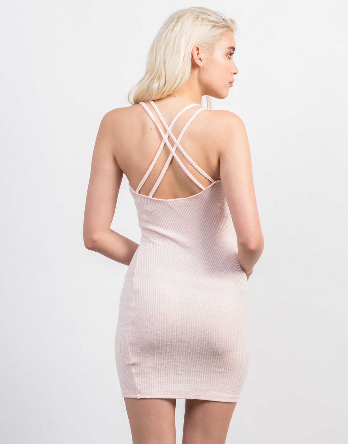 Back View of Strappy Rib Knit Dress