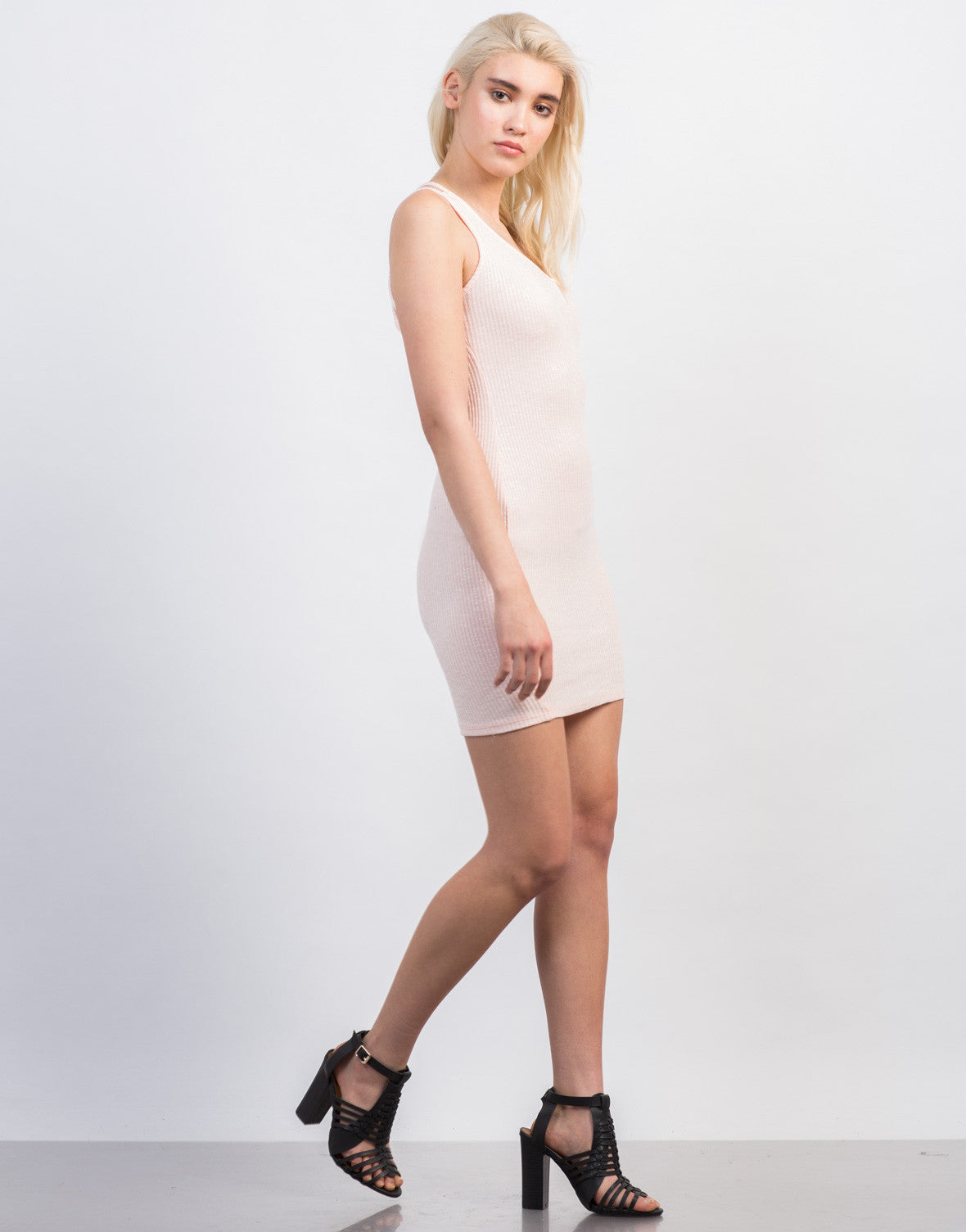Side View of Strappy Rib Knit Dress