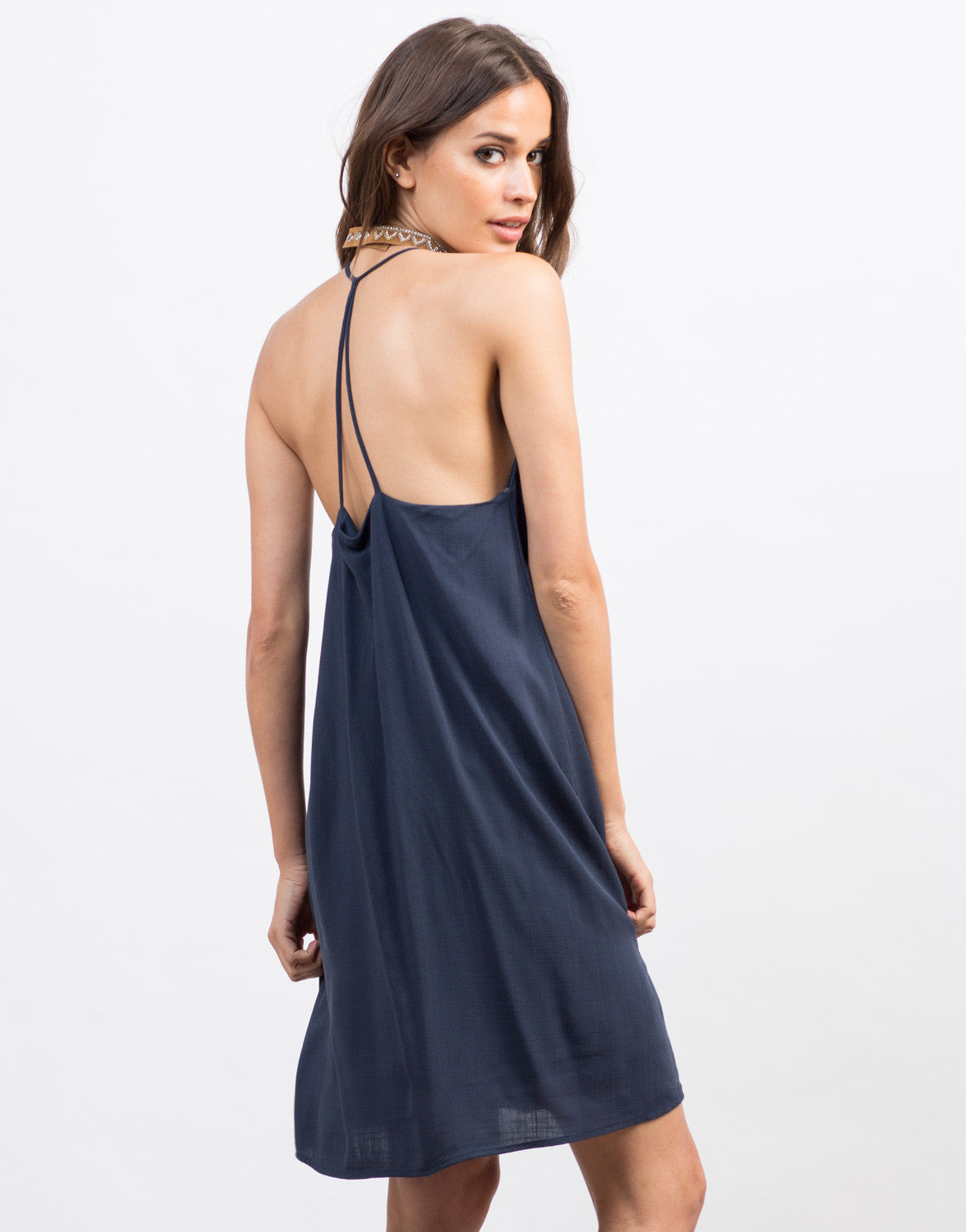 Back View of Strappy Woven Cami Dress