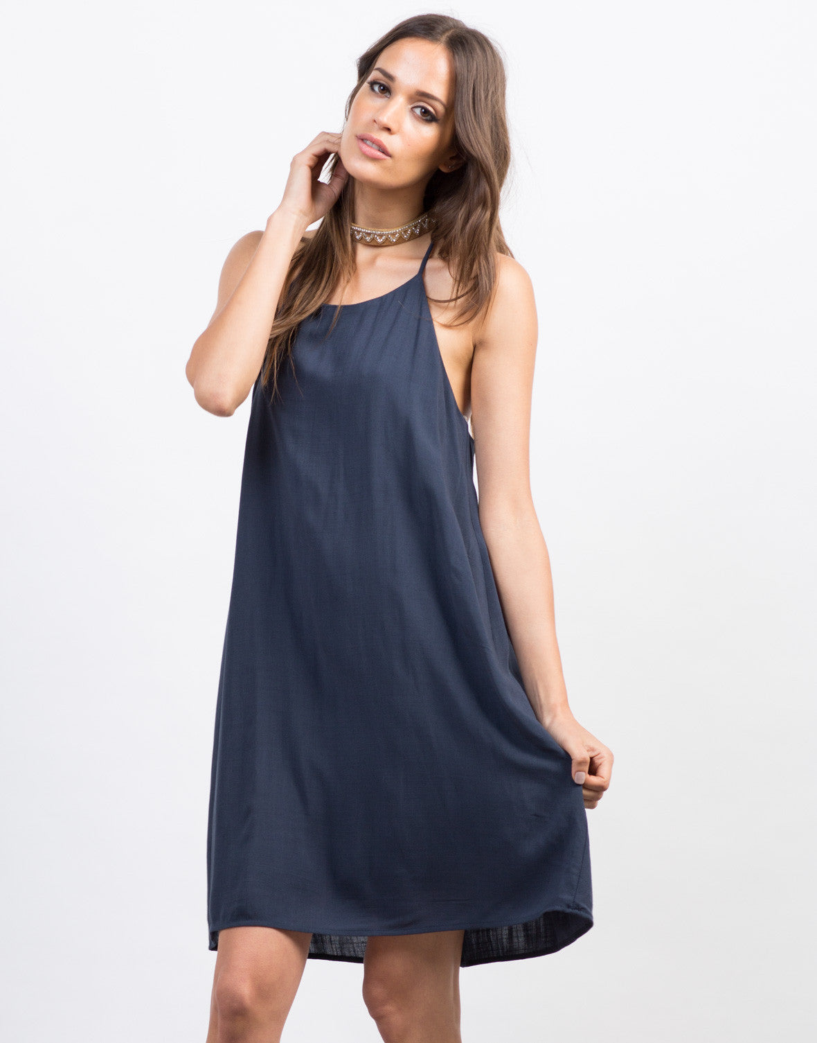 Front View of Strappy Woven Cami Dress