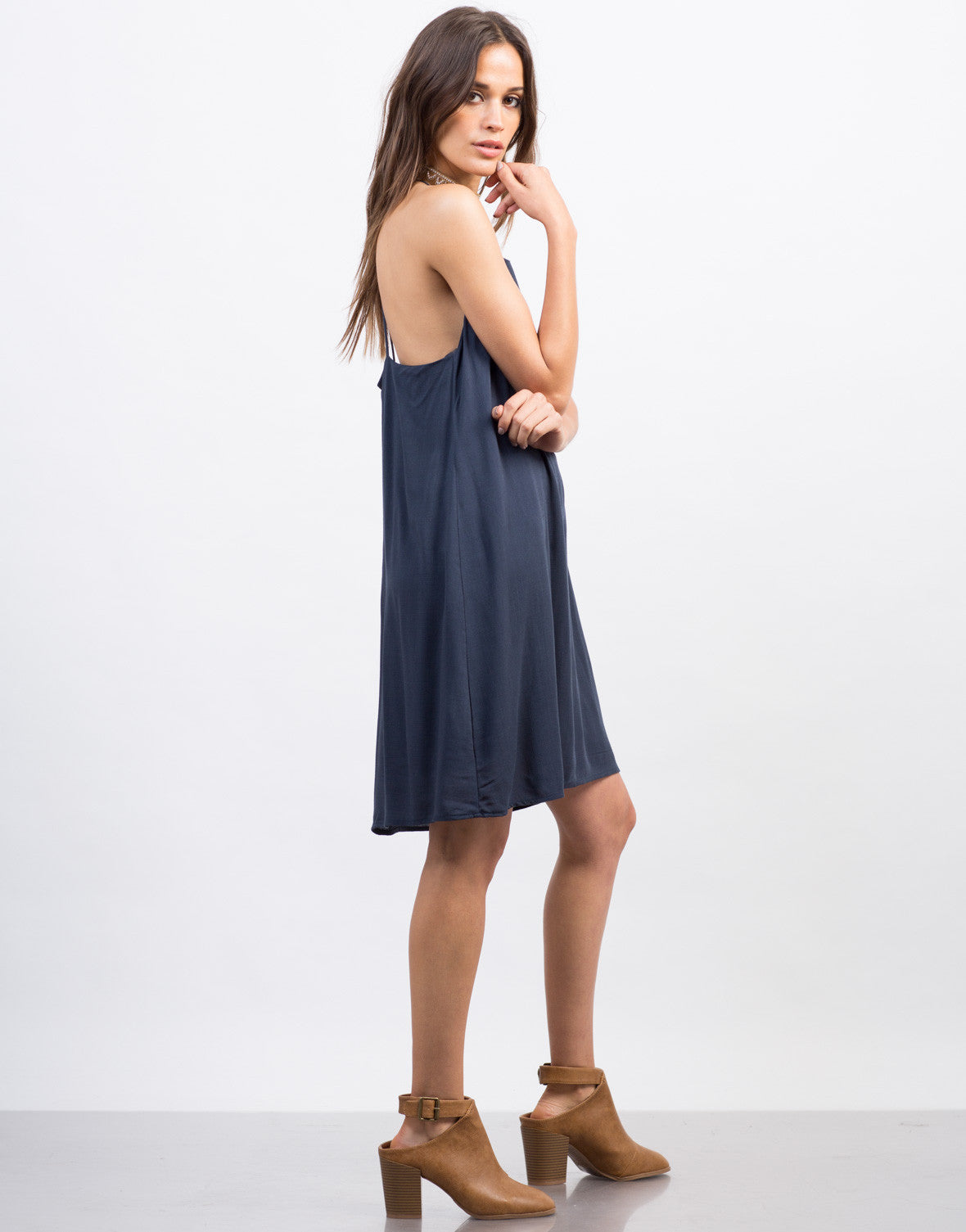 Side View of Strappy Woven Cami Dress