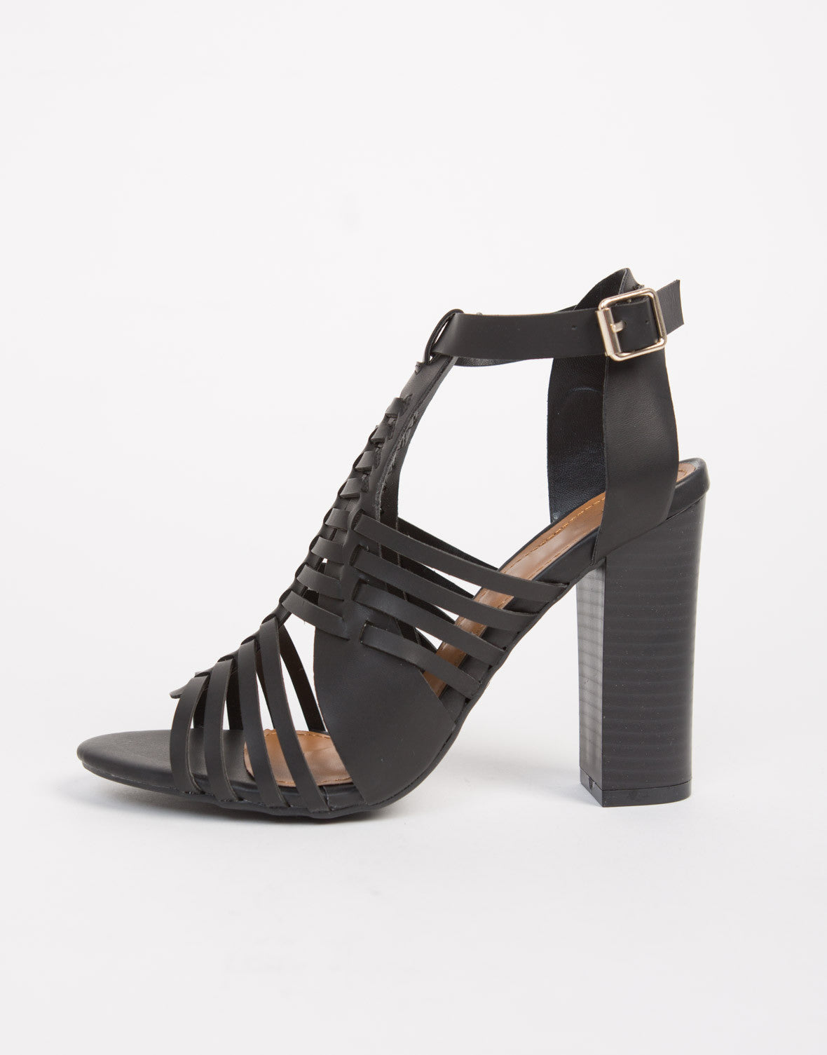 Black sandals chunky heel - Strappy Woven Chunky Heels