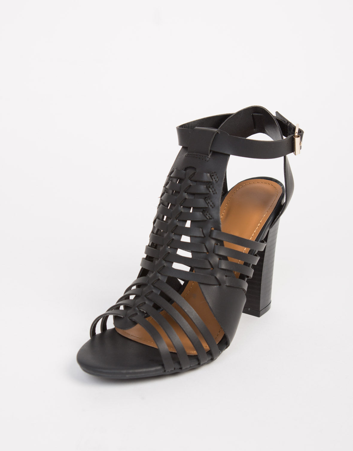 Strappy Woven Chunky Heels