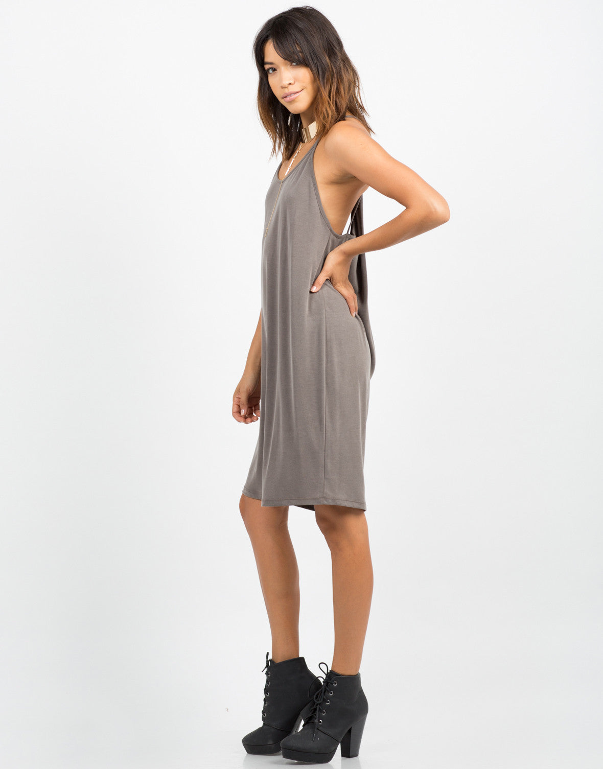 Side View of Strappy Back Drapey Dress