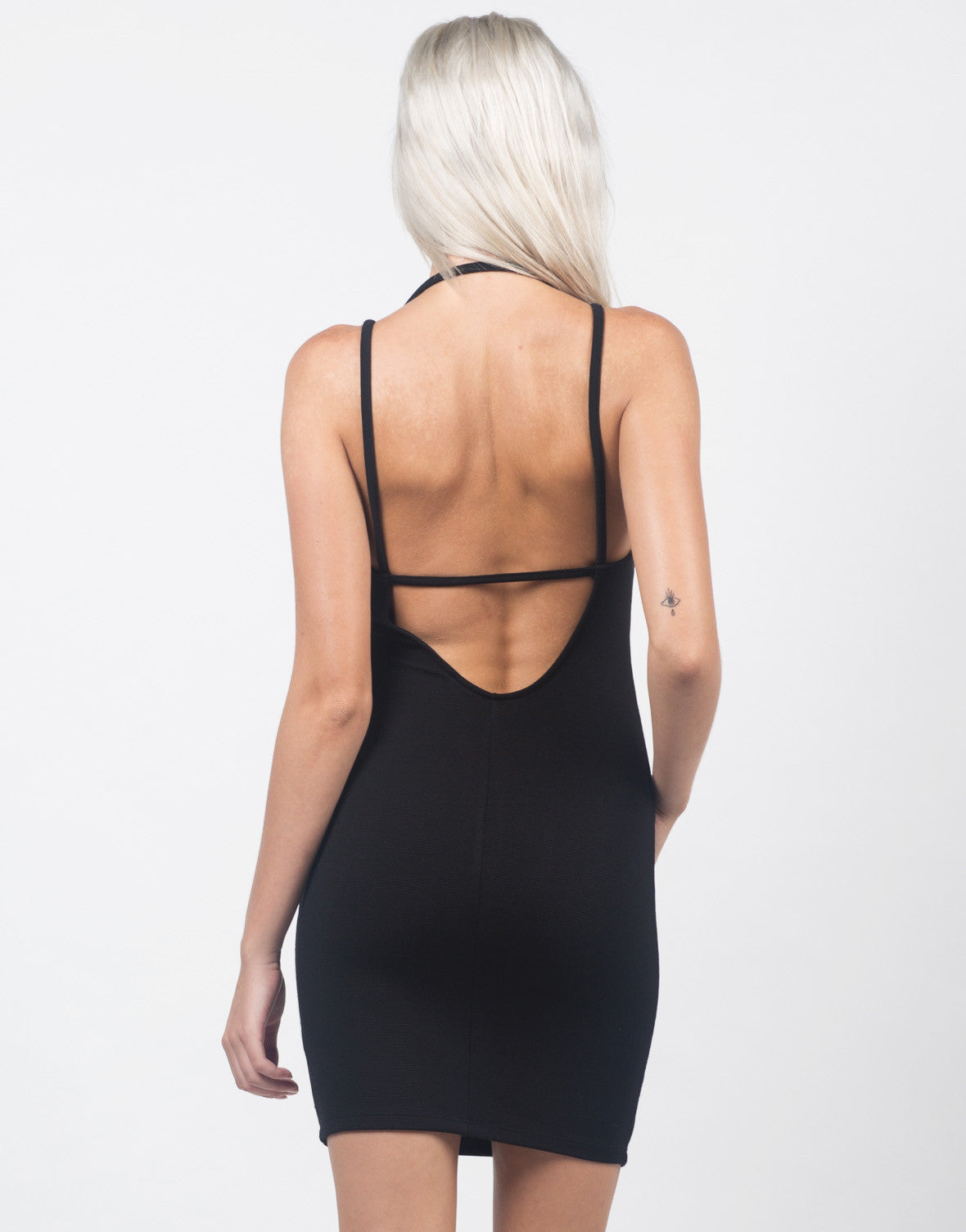 Back View of Strappy Back Textured Dress