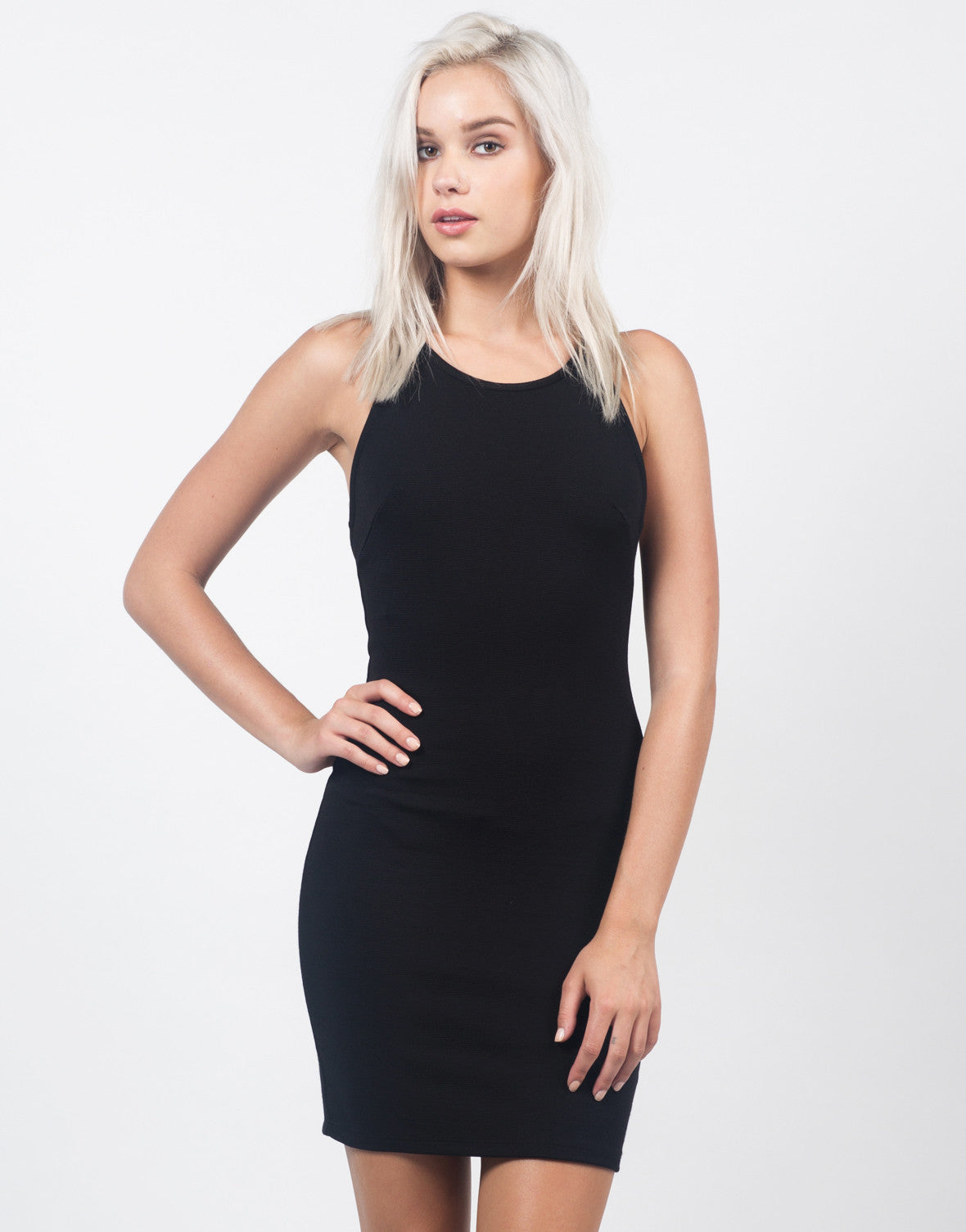 Front View of Strappy Back Textured Dress