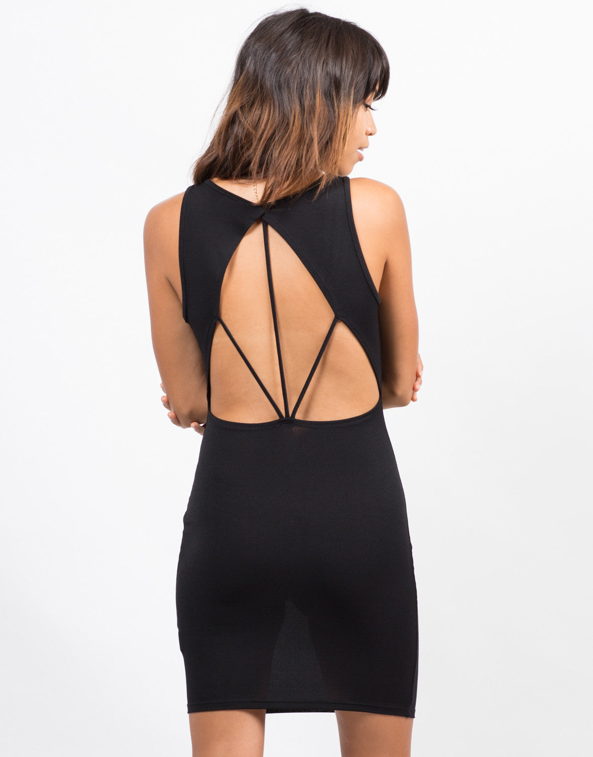Back View of Strappy Back Bodycon Dress