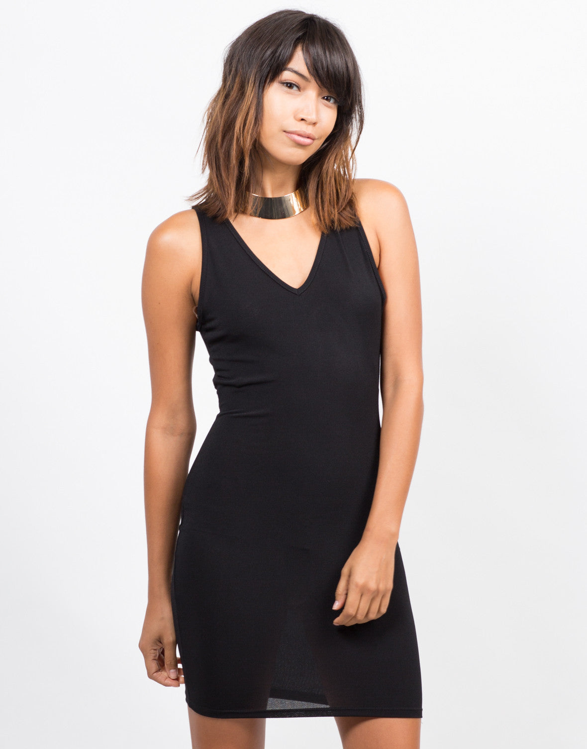Front View of Strappy Back Bodycon Dress
