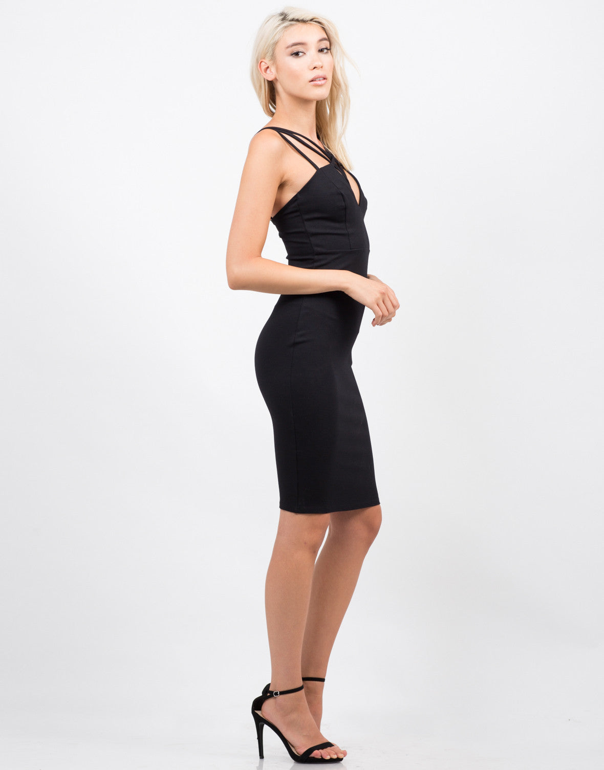 Side View of Strappy Bodycon Dress