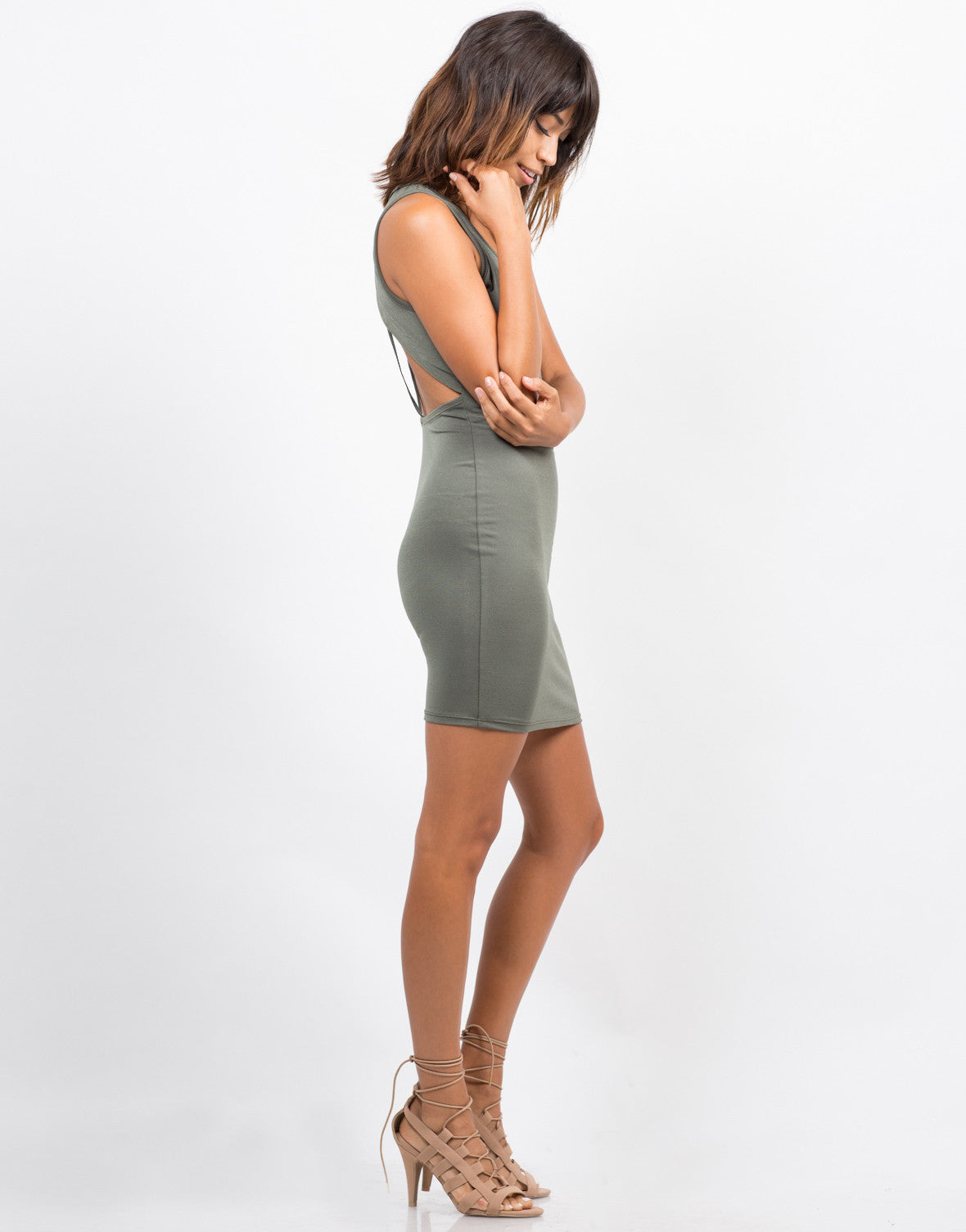 Side View of Strappy Back Bodycon Dress