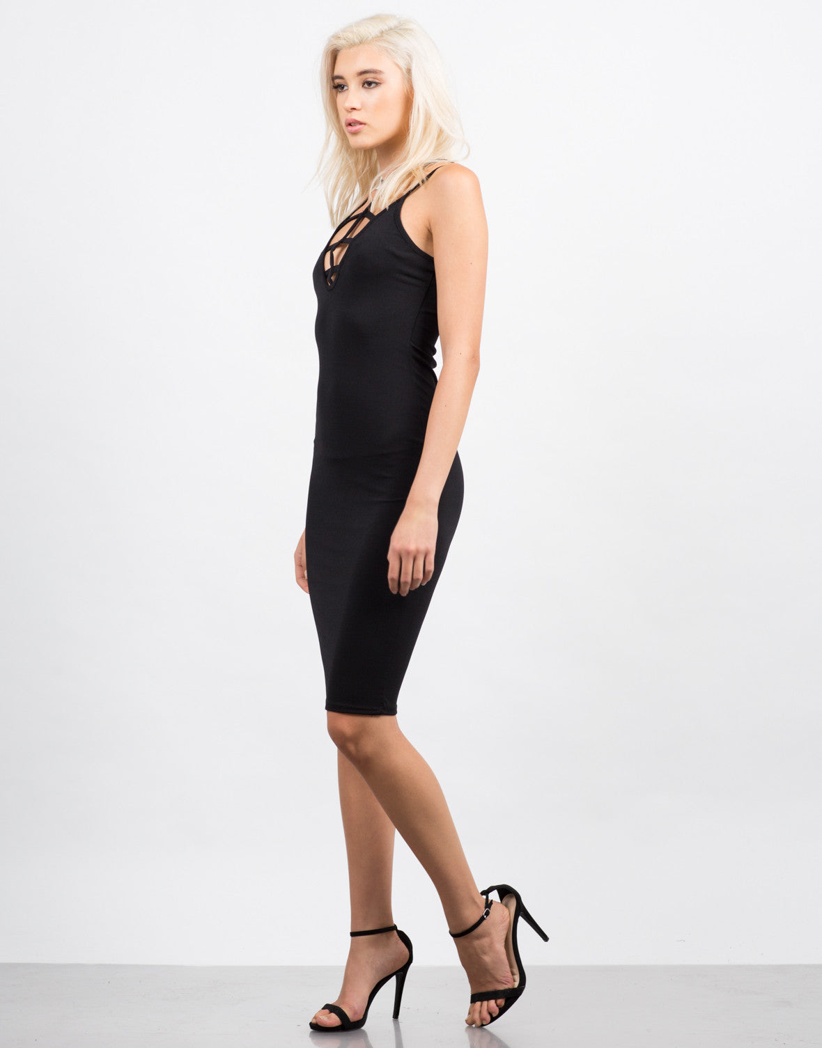 Side View of Strappy Caged Midi Dress