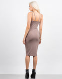 Back View of Strappy Caged Midi Dress