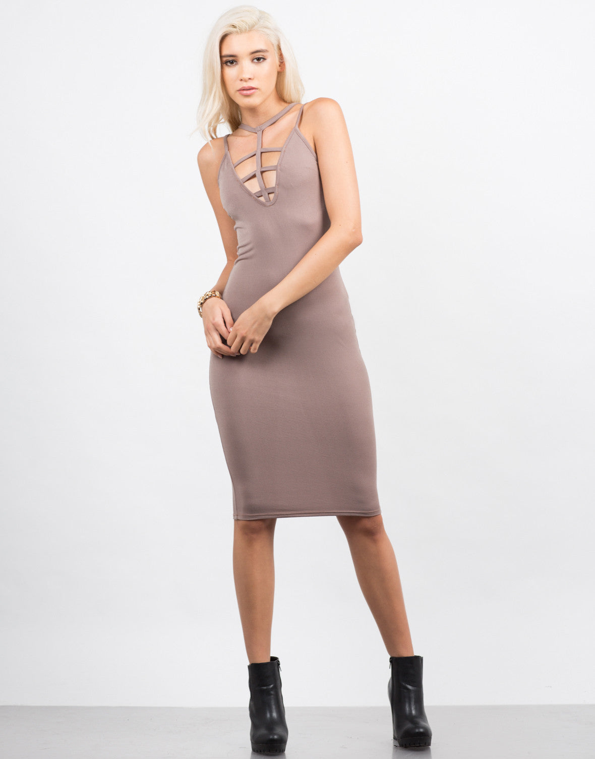 Front View of Strappy Caged Midi Dress