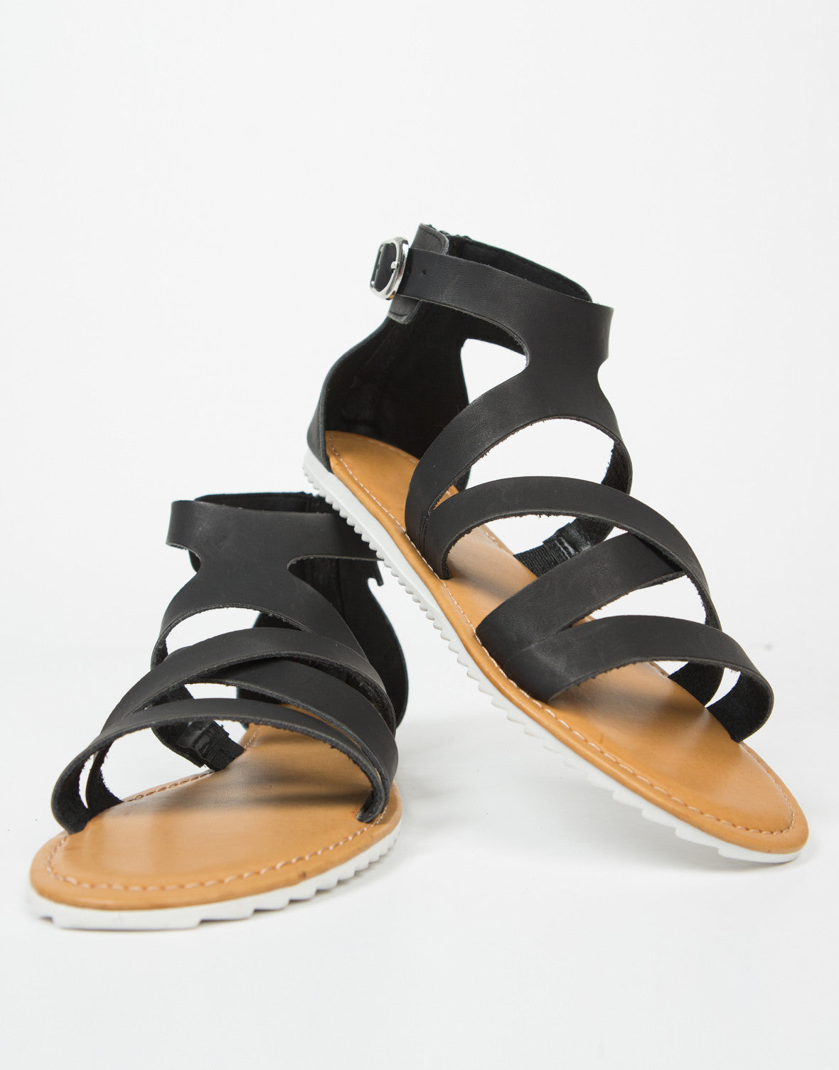 Front View of Strappy Contrast Buckled Sandals